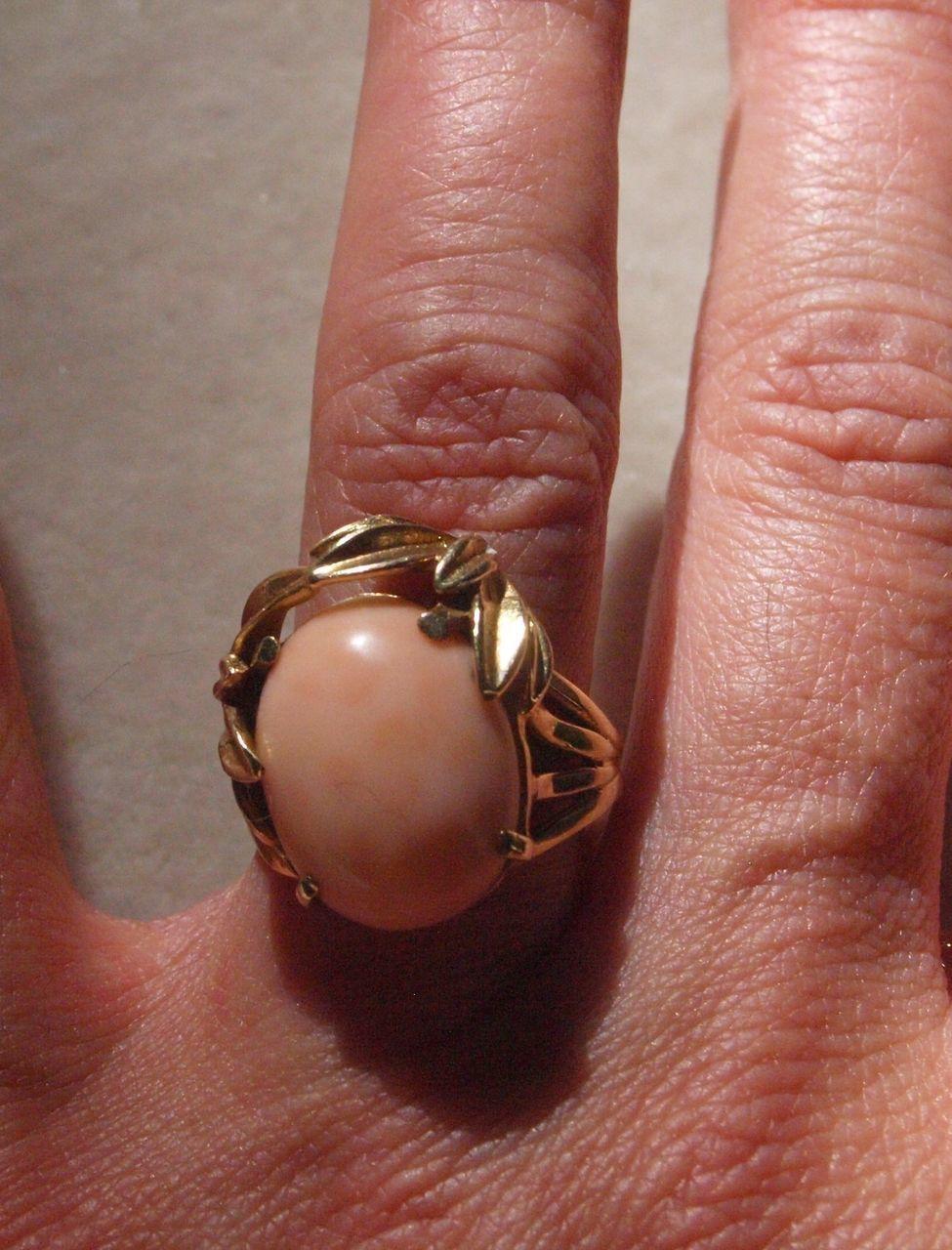 Angel Skin Coral Ring in 14k