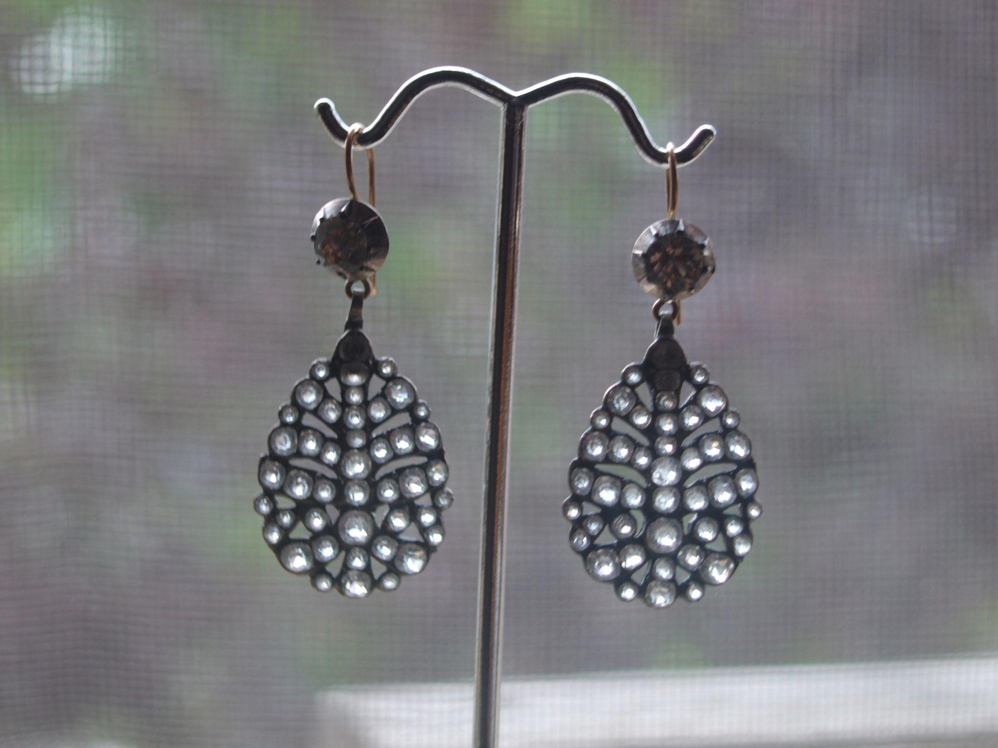 Large Georgian Silver Paste Earrings