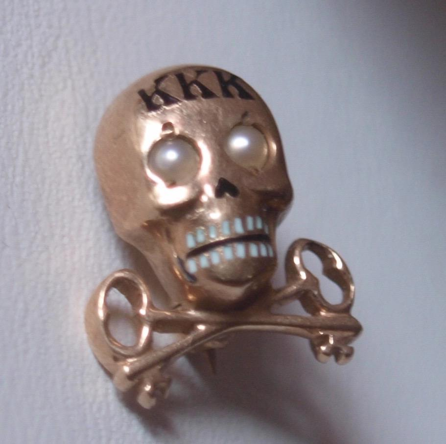 Kappa Kappa Kappa Sorority 10k Skull Pin With Seed Pearl Eyes.