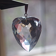 Large Vintage Puffy Heart Rock Crystal Pendant