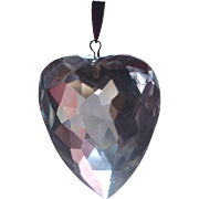 Large Vintage Puffy Heart Rock Crystal Pendant