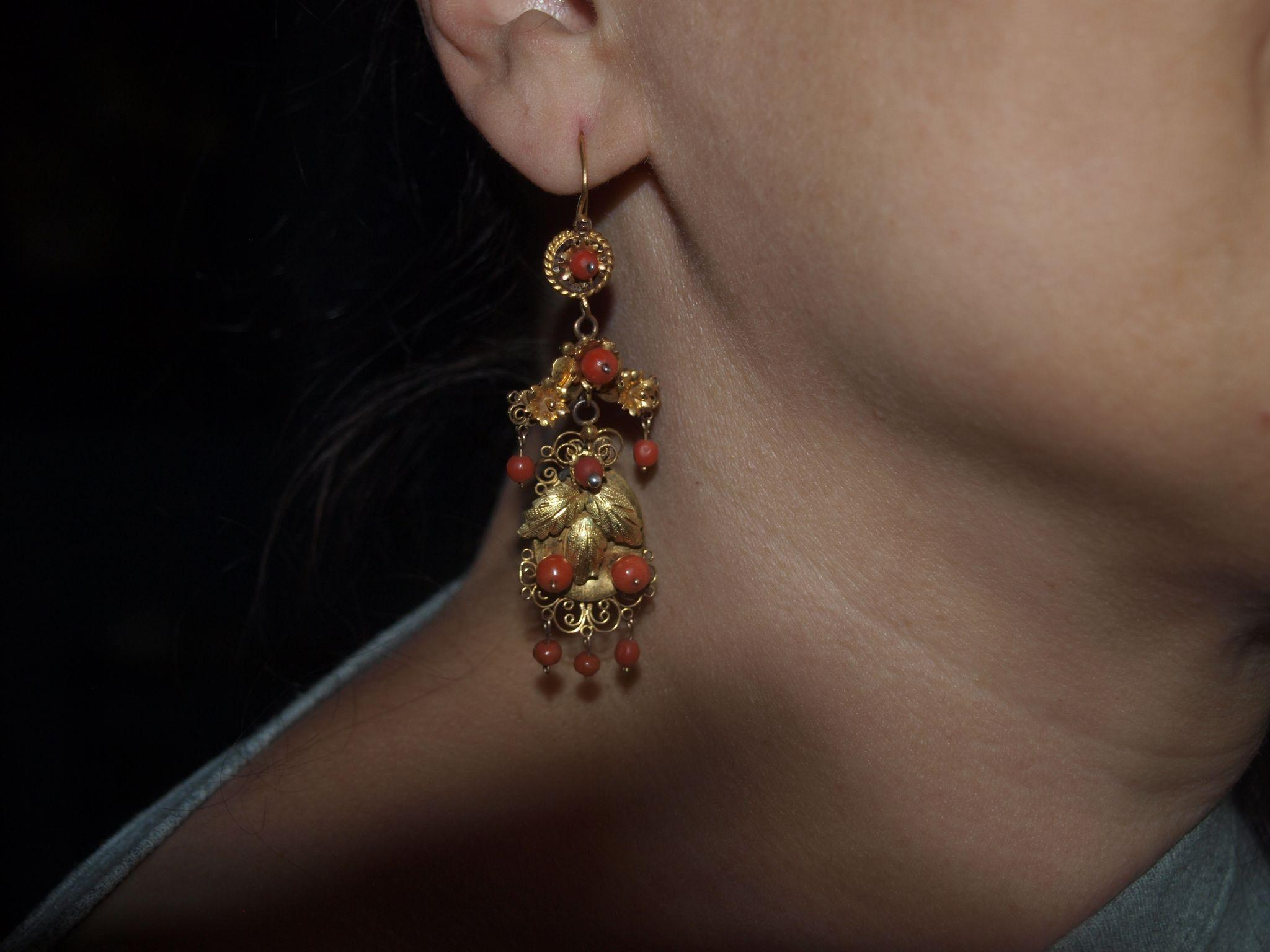 Long Victorian Coral Earrings in 14k Gold