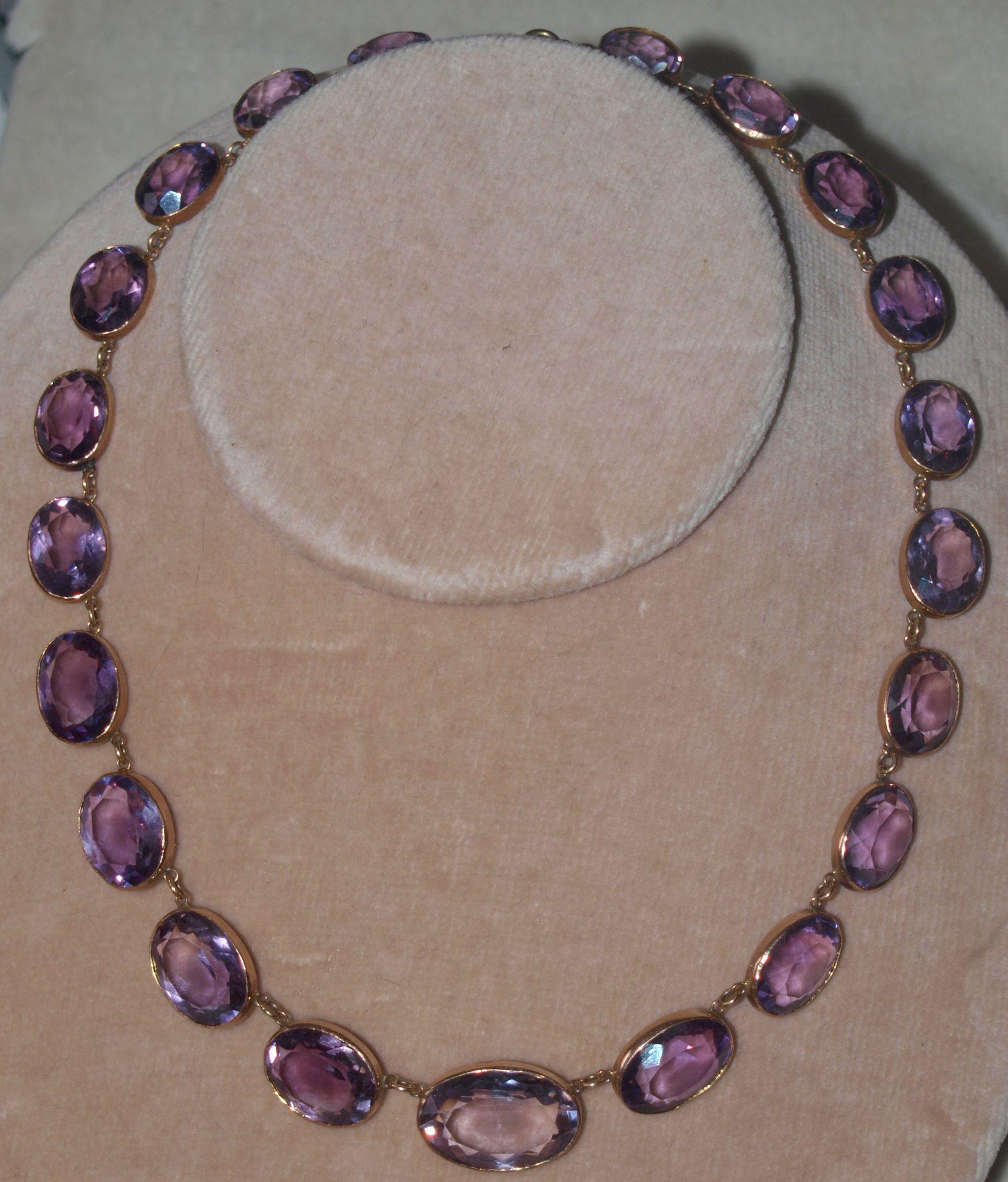 Victorian Natural Amethyst  Gold Set Rivere Necklace