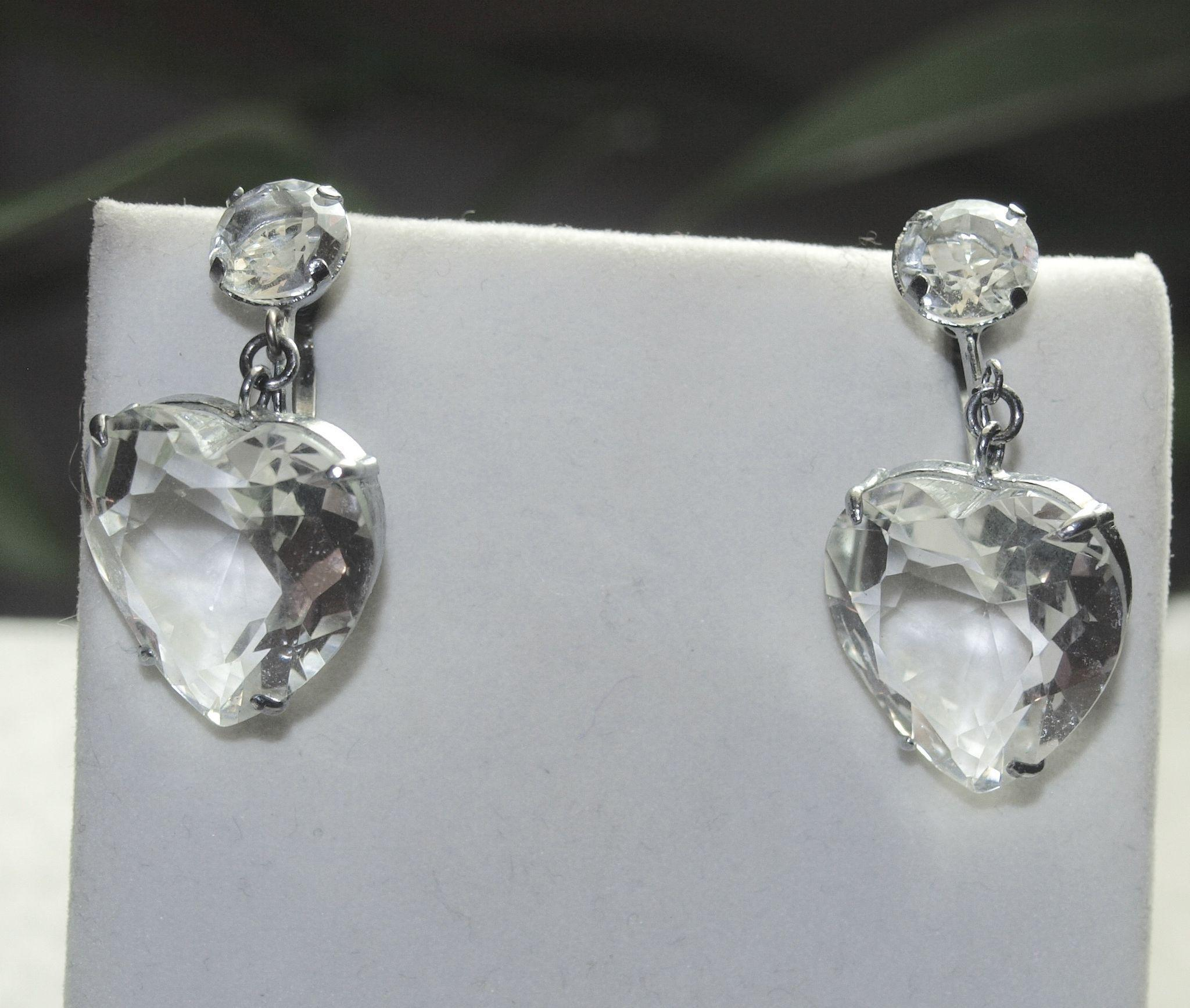Japan Sterling Rock Crystal Heart Drop Earrings