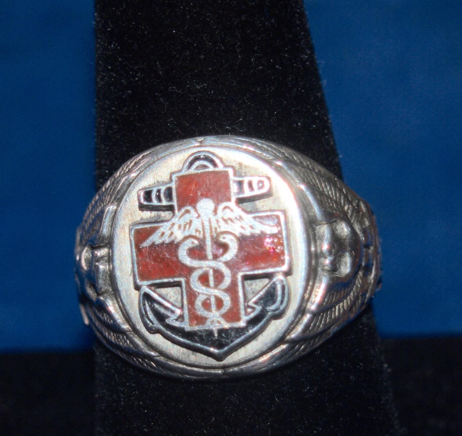 US Navy WW2 Medical Ring Sterling Emanelled