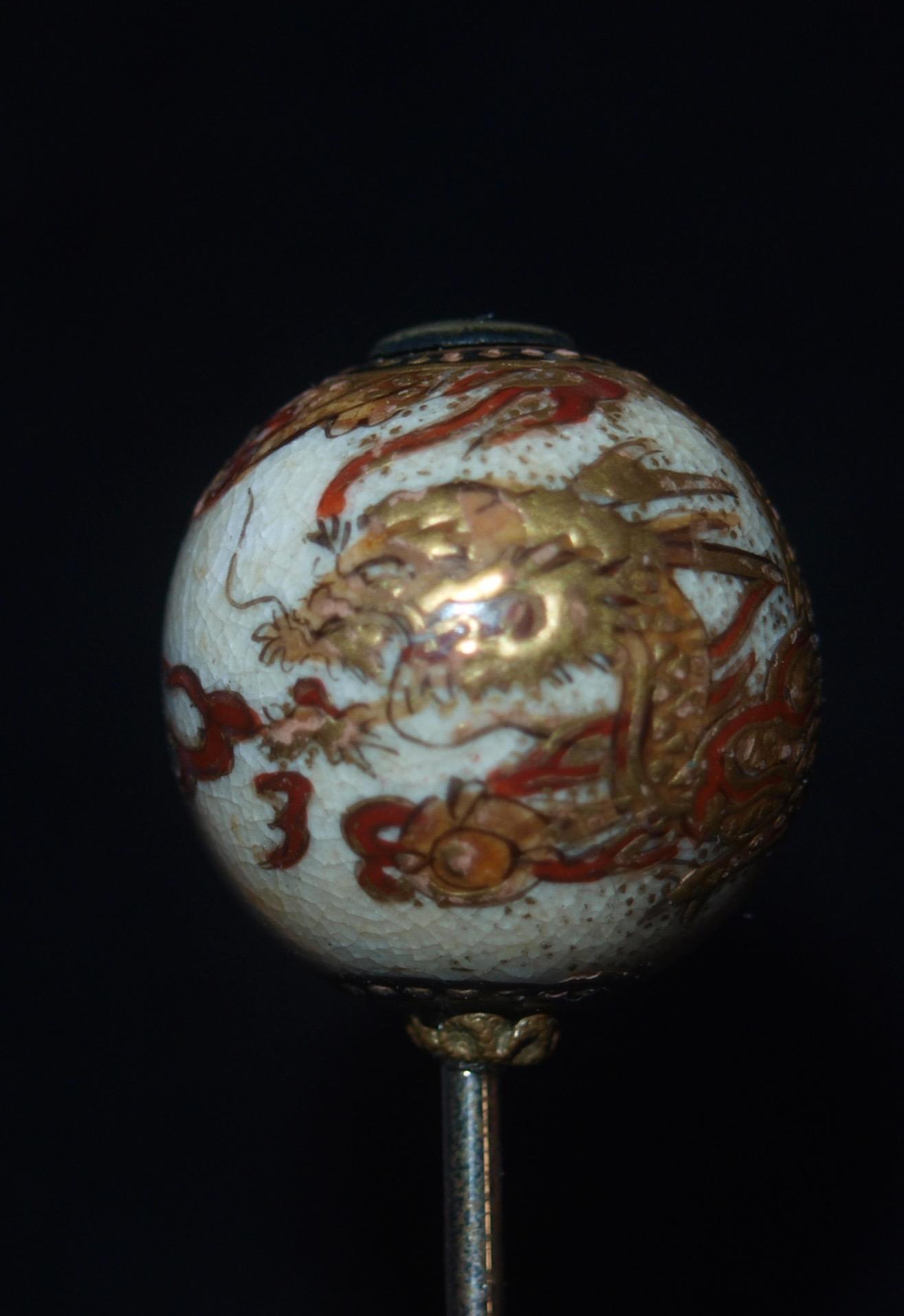 Victorian Satsuma Dragon Hat Pin