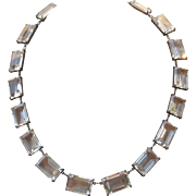 Mid Century Japan Rock Crystal Necklace In Sterling
