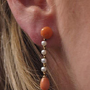 1930's 14k Coral Pearl Drop Earrings