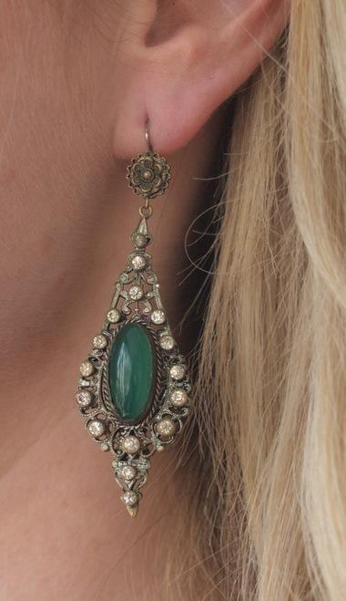 Elaborate Art Nouveau Chrysoprase Dangle Earrings