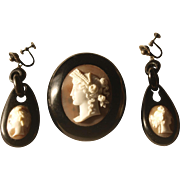 Victorian Jet Cameo Brooch And Earrings Set