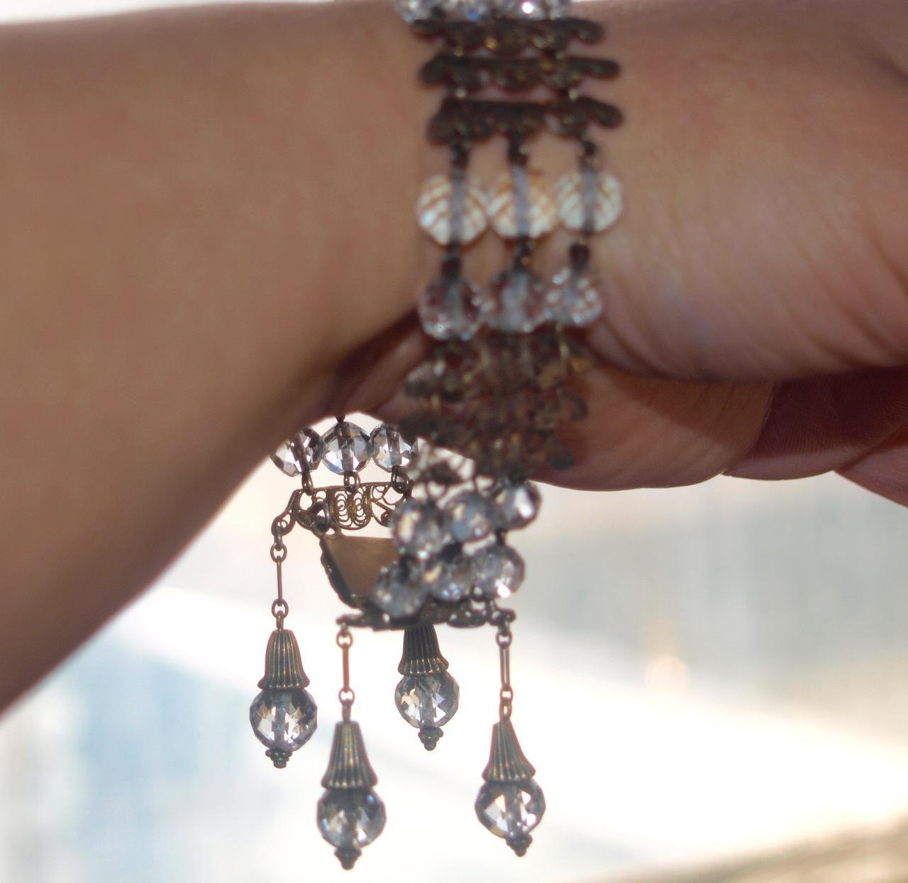 1930's Filigree and Crystal Bracelet with Dangles