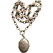 Victorian Sterling Book Chain With Locket
