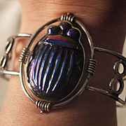 Tiffany Favrille Glass Beetle Cuff Bracelet in Sterling