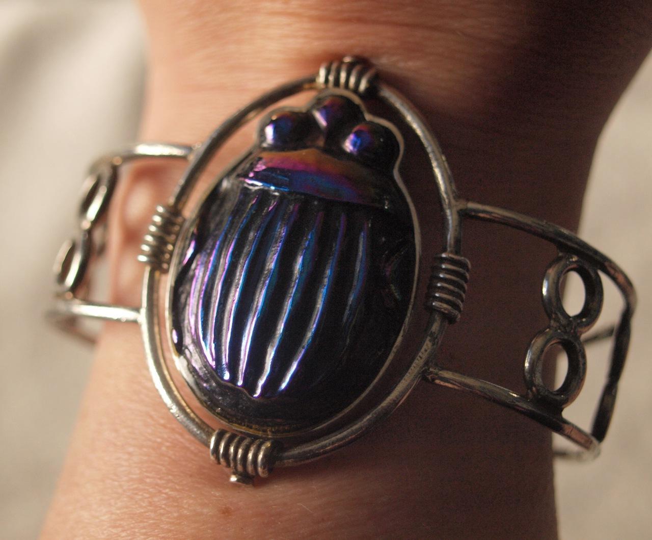Tiffany Favrille Glass Beetle Cuff Bracelet in Sterling