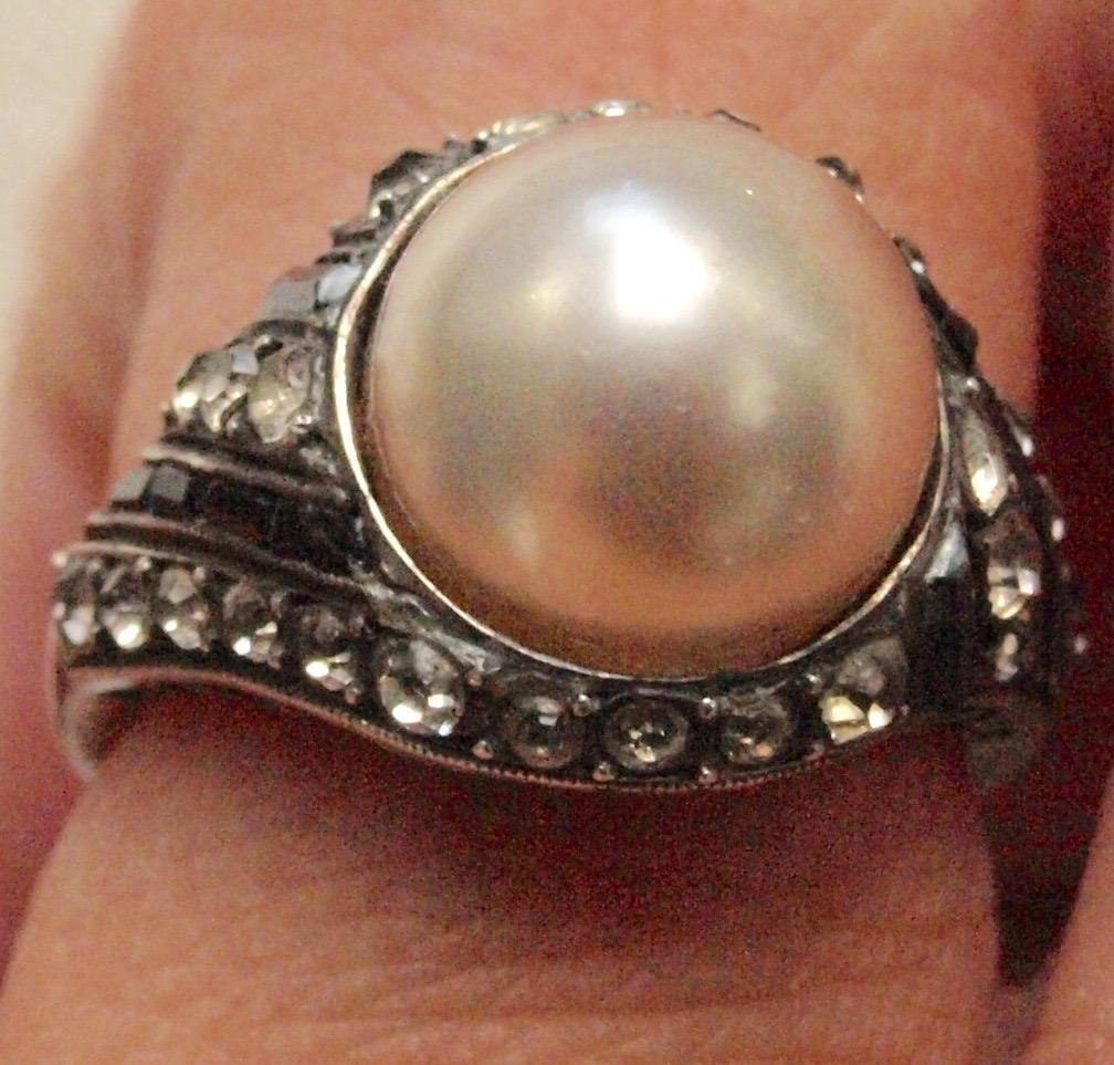 Dramatic Art Deco Paste and Pearl Ring