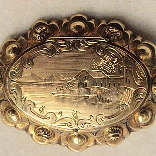 Civil War Era 14k Locket Brooch
