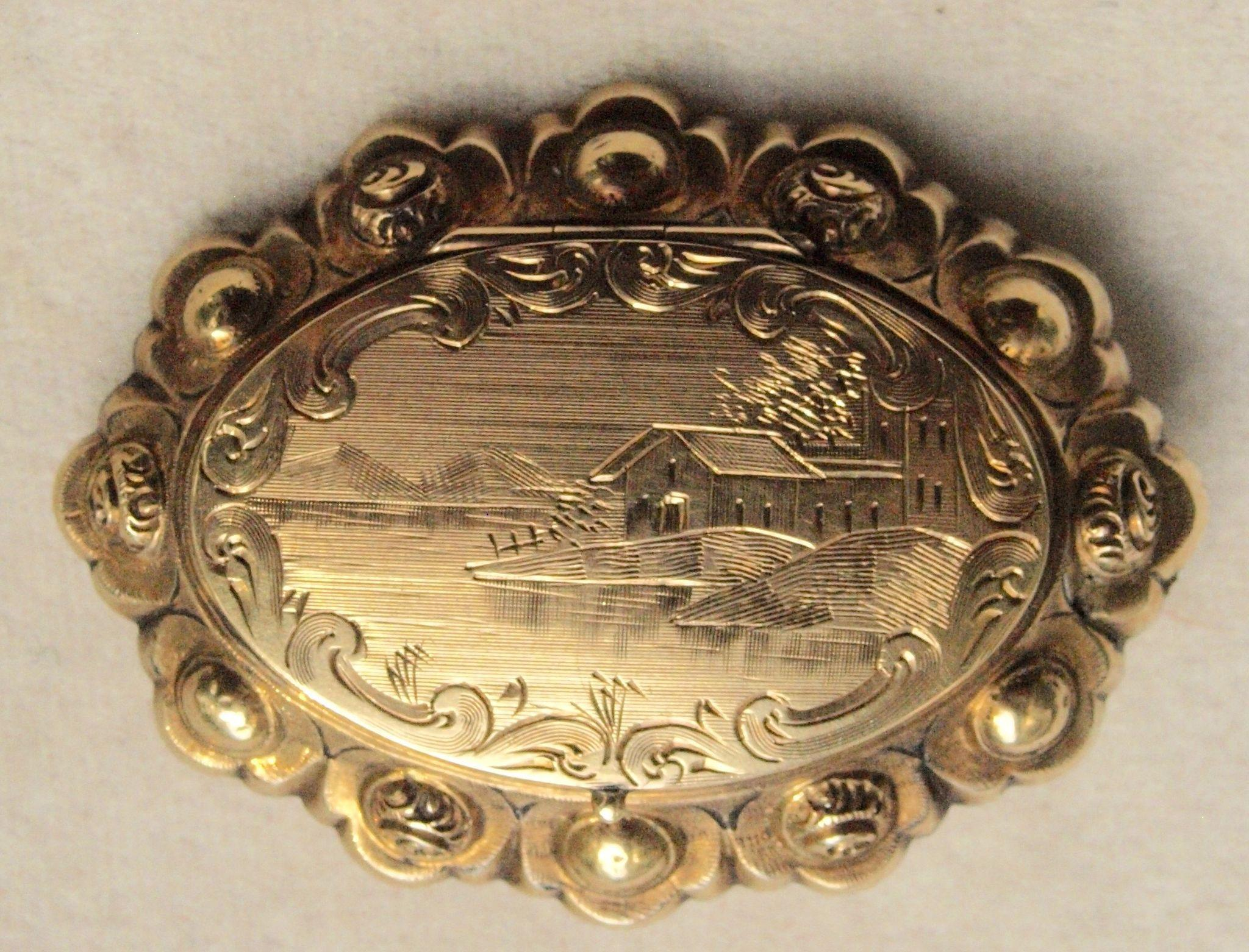 Civil War Era 14k Locket Brooch