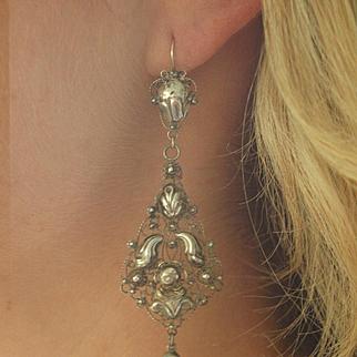 Victorian Dutch Silver Pendeloque Earrings