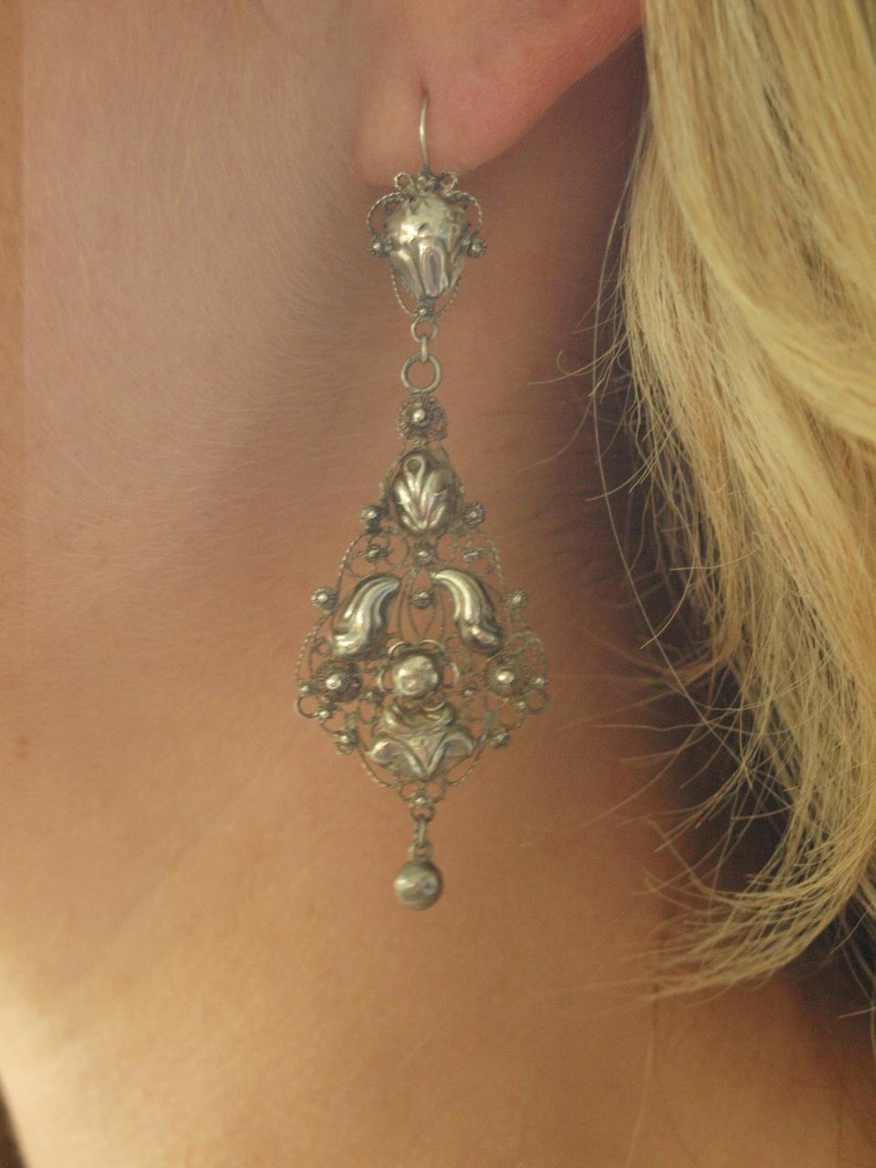 Victorian Dutch Silver Pendeloque Earrings