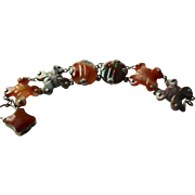 Victorian Scottish Agate Bracelet With Lock Clasp