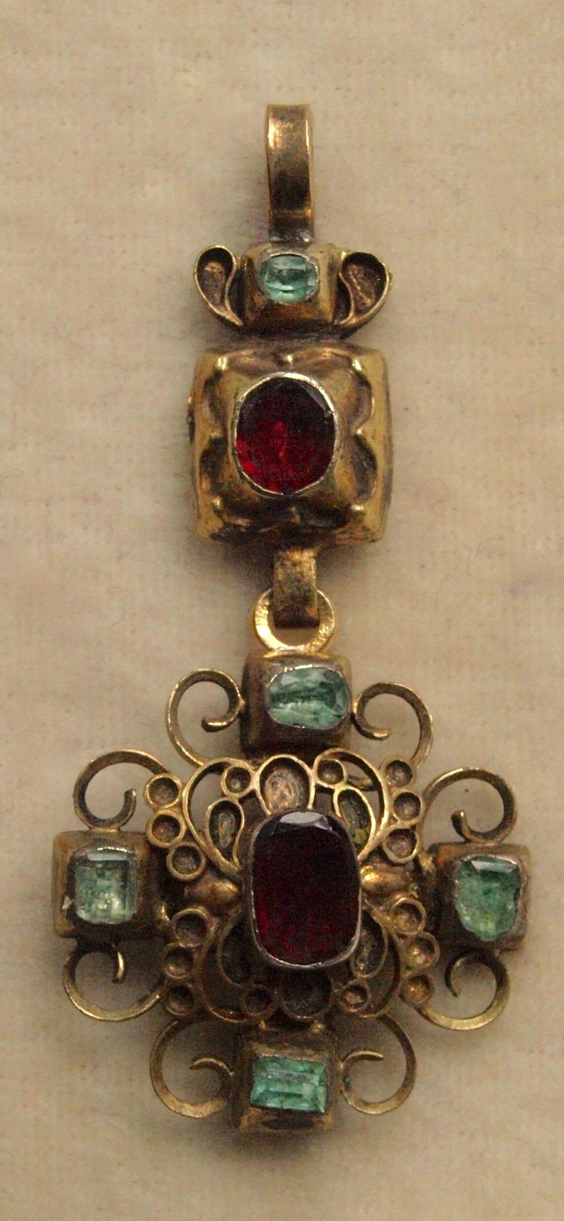 18th Century Cruciform Pendant Garnets and Emeralds