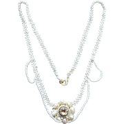 Georgian Natural Seed Pearl Necklace With Citrine Center