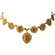 Georgian 18k Cannetille Royal Topaz Necklace And Earrings