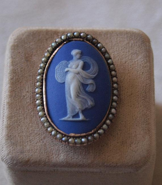 Georgian Wedgwood Cameo Seed Pearl Ring