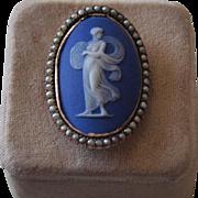 Georgian Wedgwood Cameo Seed Pearl Ring