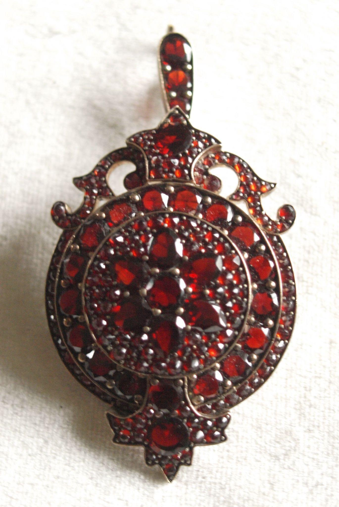 Beautiful Victorian Bohemian Garnet Pendant With Glazed Compartment