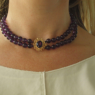 Royal Purple Amethyst Necklace With Gold Clasp