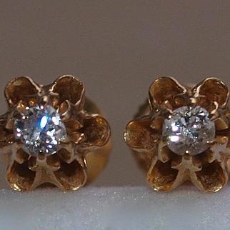 Victorian Diamond Stud Earrings Pierced