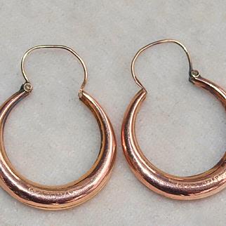 Victorian Rose Gold Creole Hoop Earrings