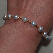 1920's 14k Cultured Pearl Chain Bracelet in 14k