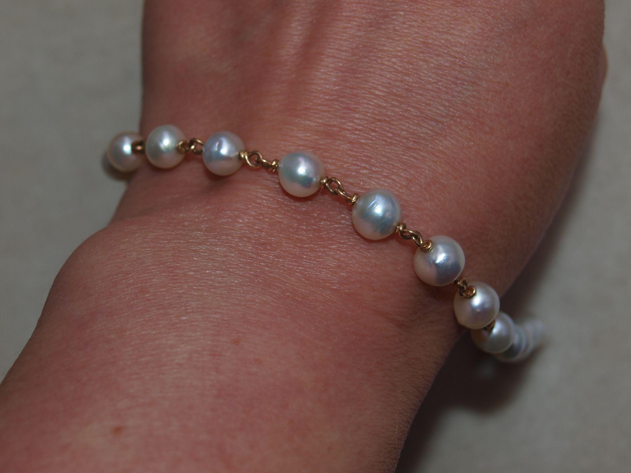 1920's 14k Cultured Pearl Chain Bracelet in 14k