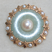 Retro Moderne 14k Jade And Pearl Pin