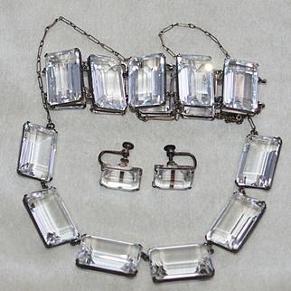 Japan Rock Crystal Sterling Parure, Huge Crystals!