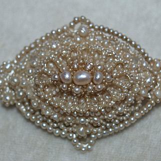 Georgian Natural Seed Pearl Brooch