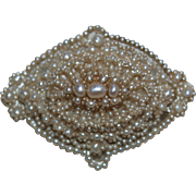 Georgian Natural Seed Pearl Brooch