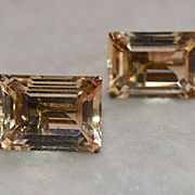 Retro Large Emerald Cut Citrine Earrings