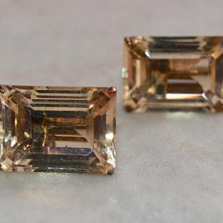 Retro Large Emerald Cut Citrine Earrings
