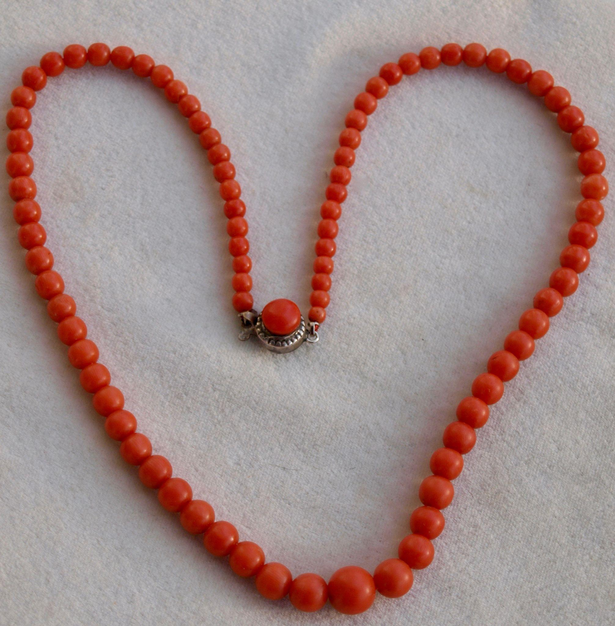 Dark Salmon Coral Bead Necklace