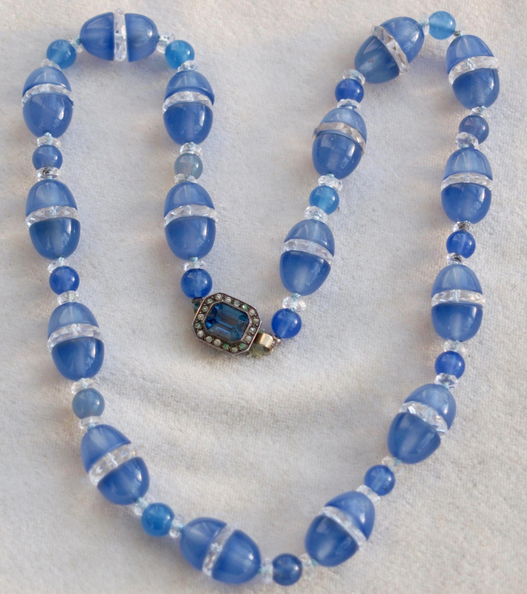 Art Deco Chalcedony Rock Crystal Necklace