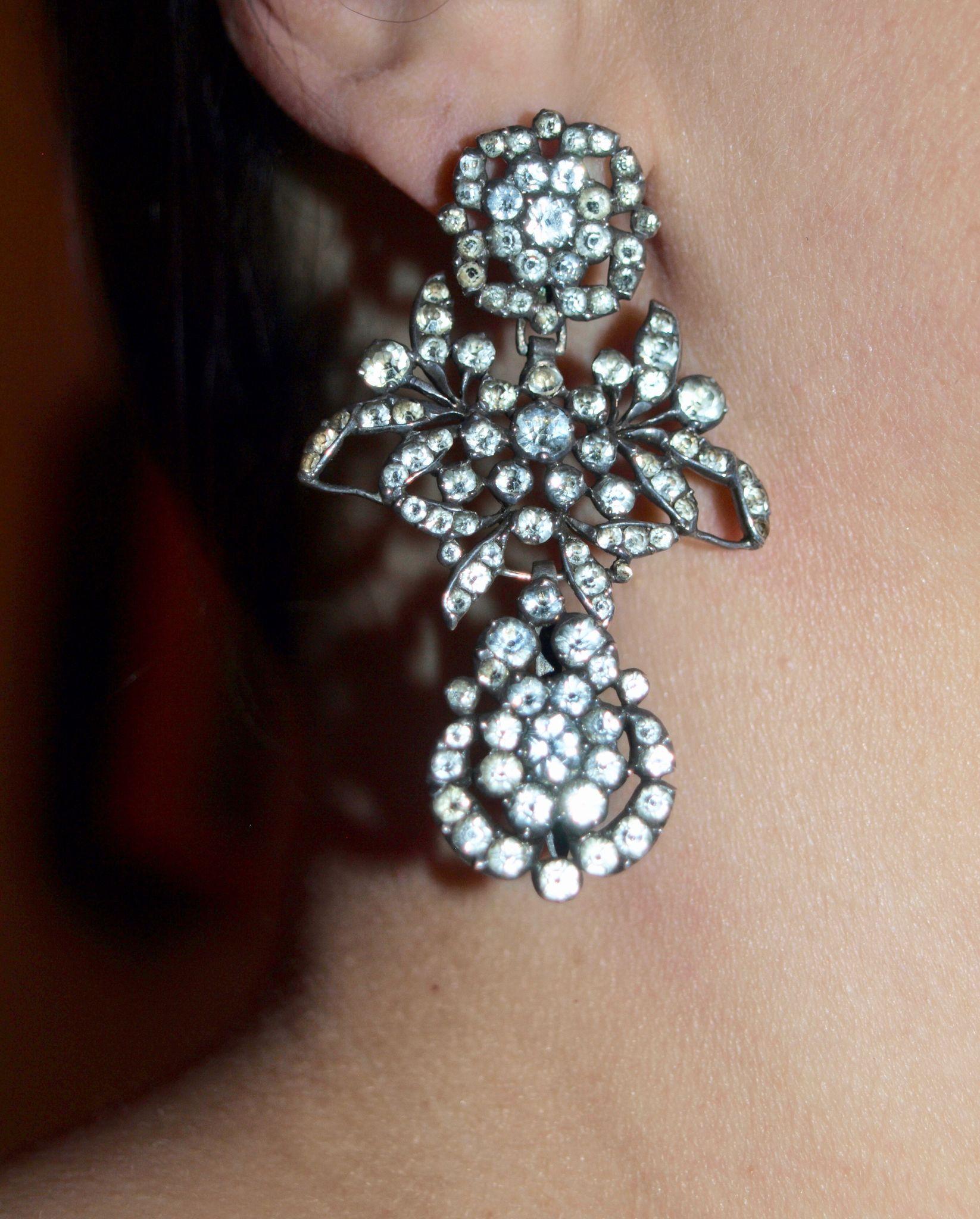 Regal Large Georgian Paste Pendelique Earrings