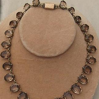 Victorian Cairngorm Smoky Quartz Riviere Necklace
