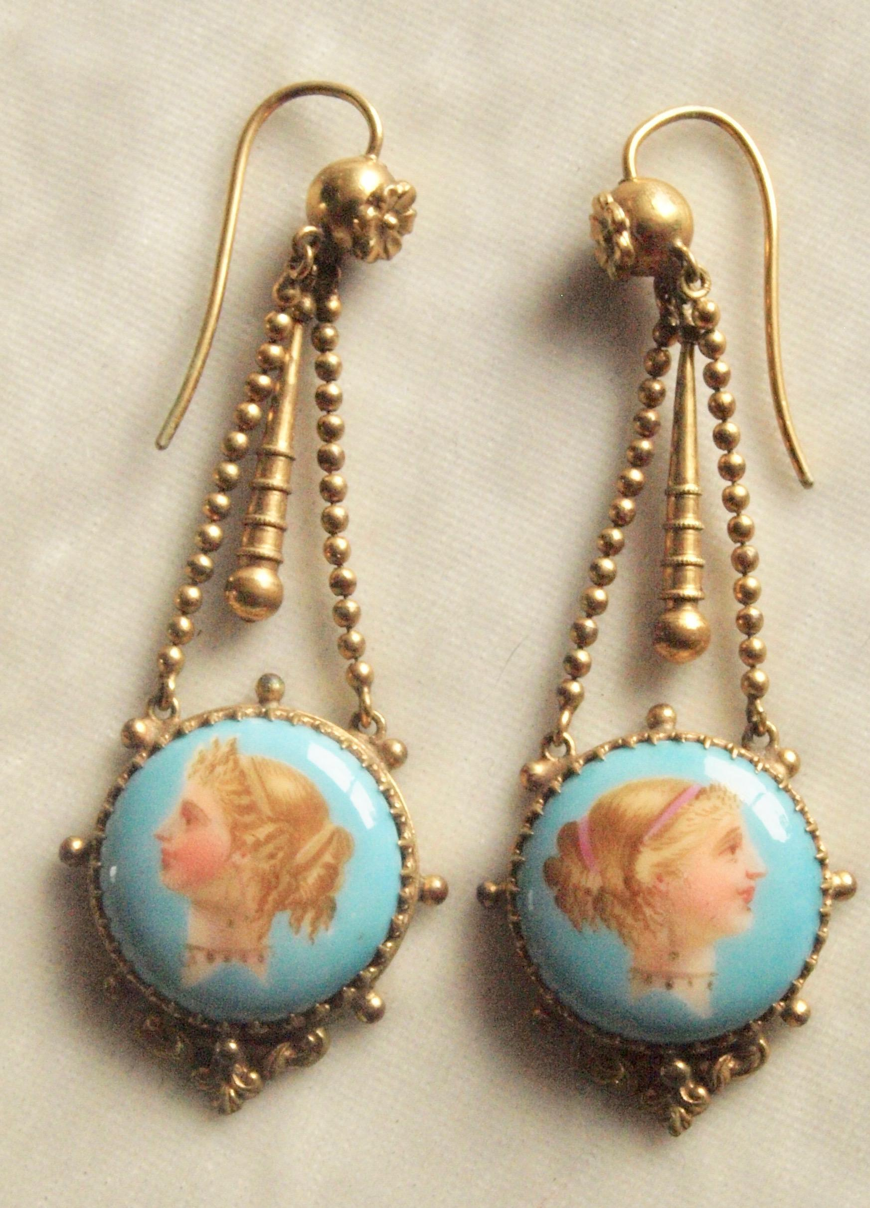 Mid Victorian Hand Painted Lady Dangle Earrings