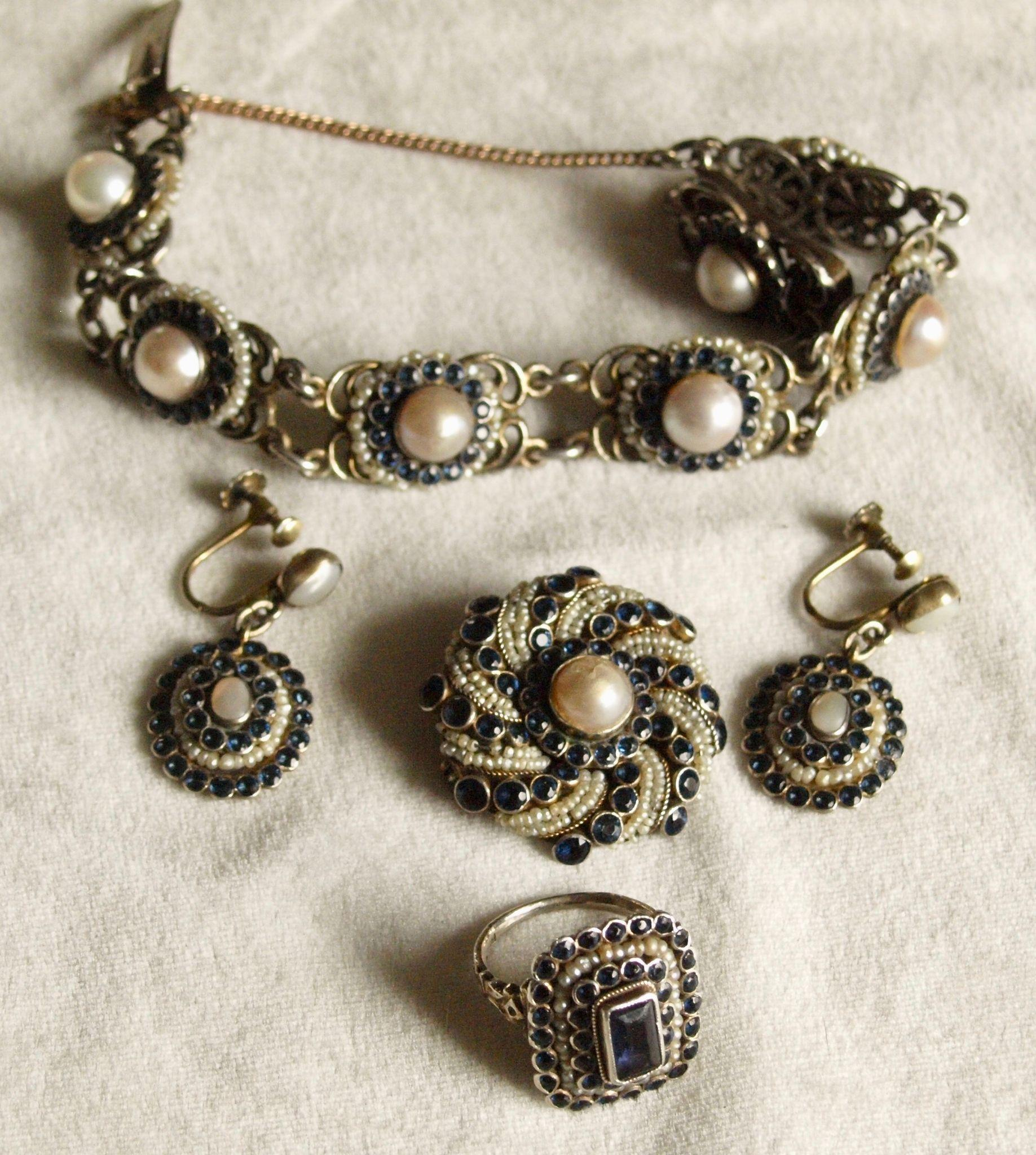 Austro Hungarian Suite of Pearls and Blue Pastes
