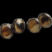 Rare Georgian Agate Cufflinks In Silver