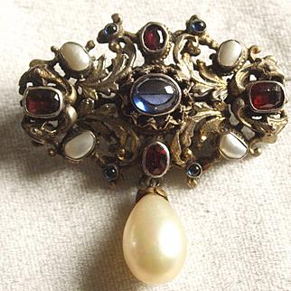 Austro Hungary Renaissance Revival Garnet Pearl Pin