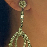 Elaborate Long Dangle Paste Earrings